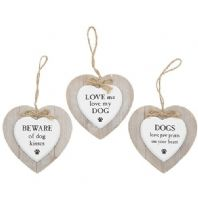 Dog Lovers Wooden Heart Shaped Hanging Sign Various Words..